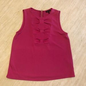 New TOPSHOP Triple Bow Top in Hot Pink Size 6